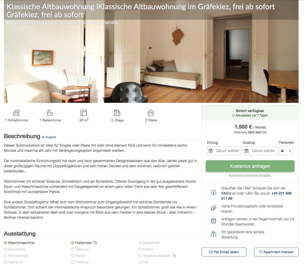 """Hier würden Sie einen Screenshot unserer Buchungsseite beim Schritt """"Apartment anfragen"""" sehen."""