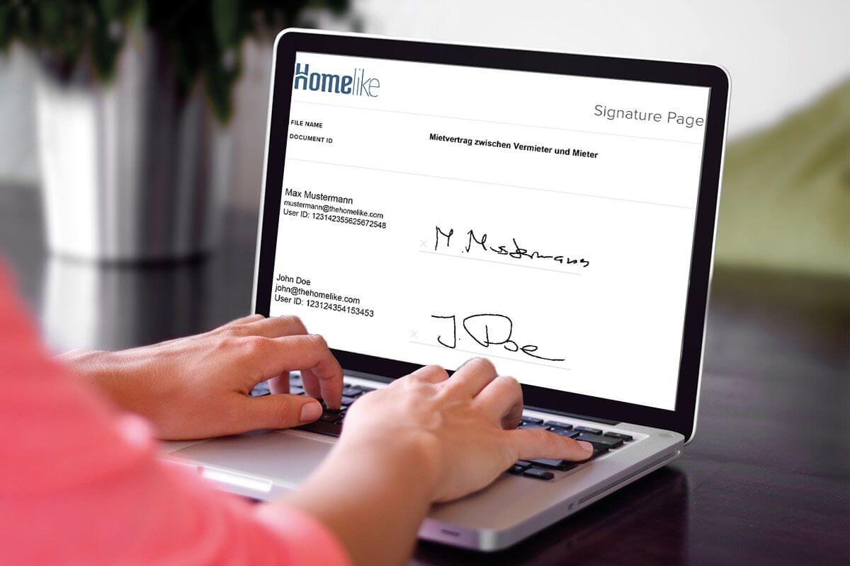 Hier würden Sie den elektronischen Mietvertrag auf einem Laptop sehen