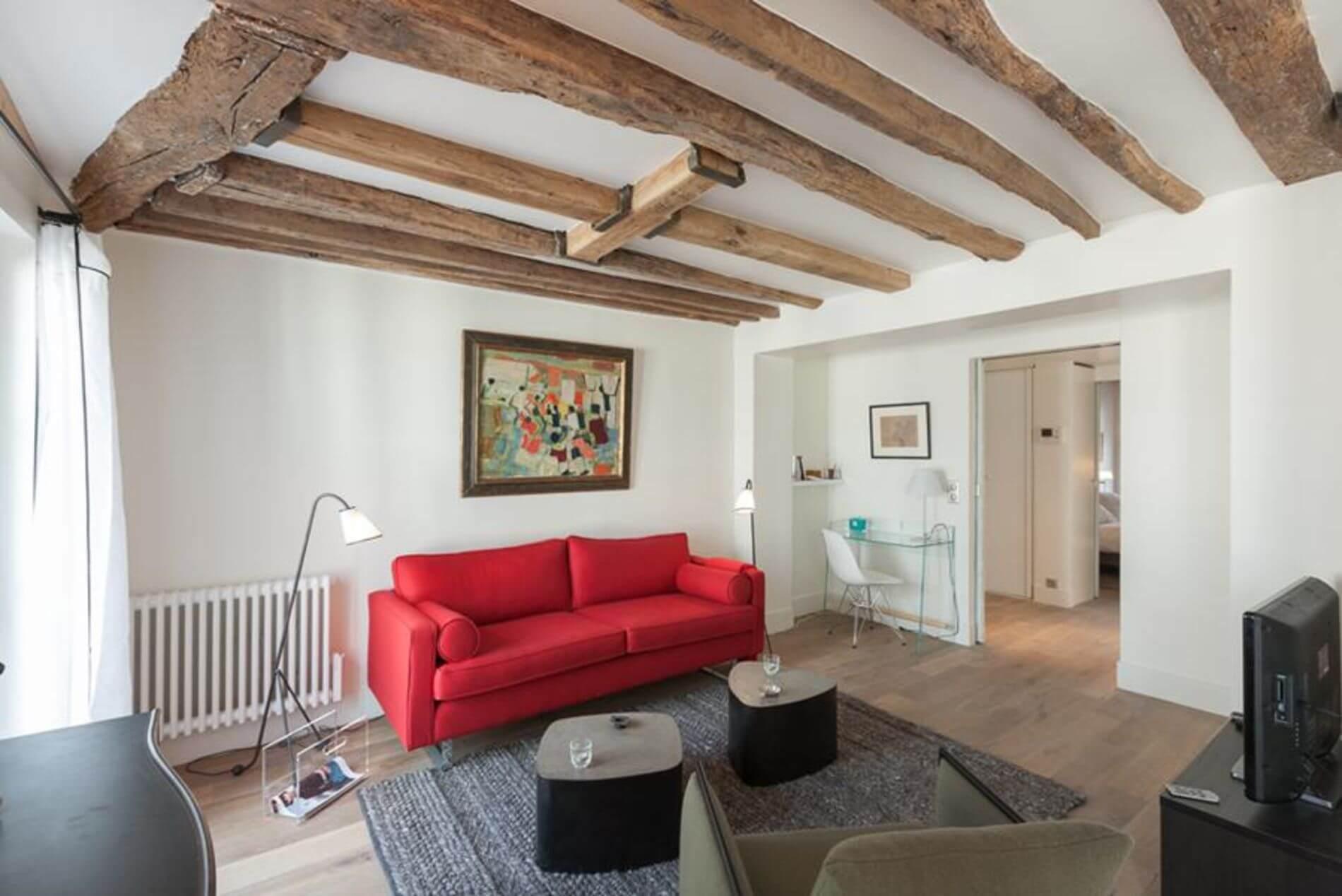 Modern serviced apartment in Saint Germain des Pres, Paris with a balcony