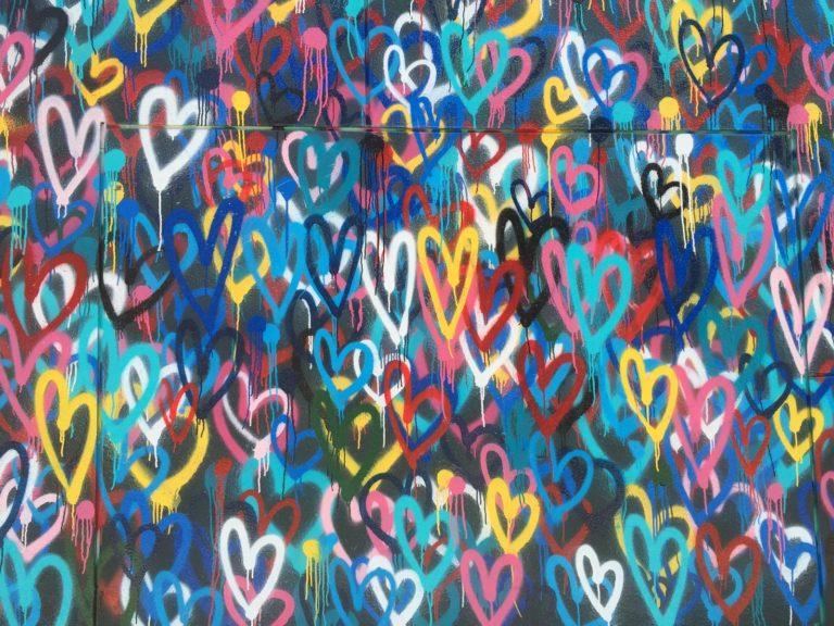 multicolored heart wallpaper
