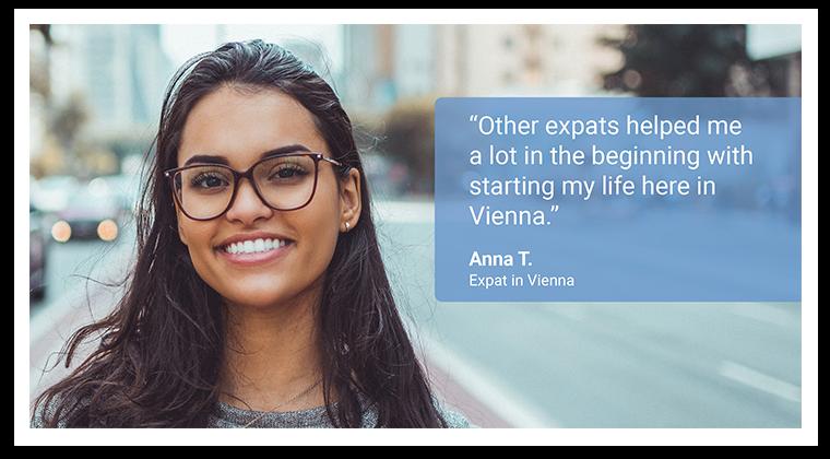 Hier wüeden Sie das Bild und Zitat von Anna T. sehen, die als Expat in Wien lebt