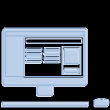 Hier würden Sie die Illustration eines Computers sehen auf dem Homelikes Buchungstool zu sehen ist