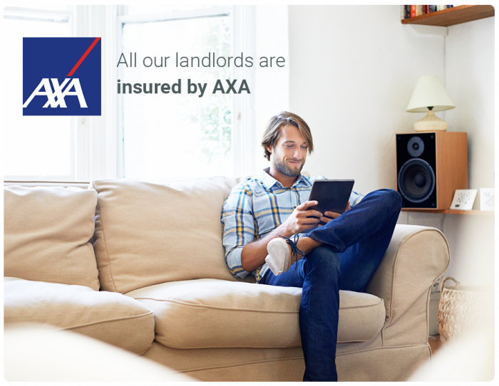 Here you would see a picture of a landlord sitting in a furnished apartment that is insured by AXA