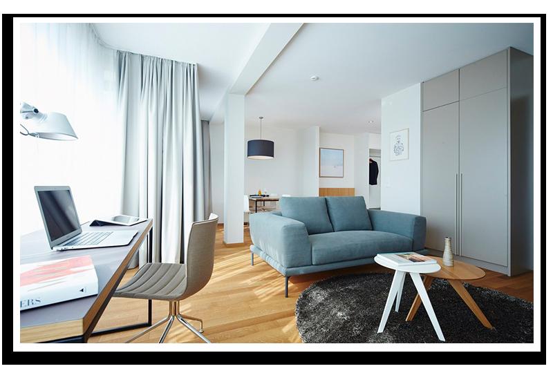 Hier würden Sie ein möbliertes Apartment von Homelike sehen zu dem Sie eines unserer Leistungspakete wählen können