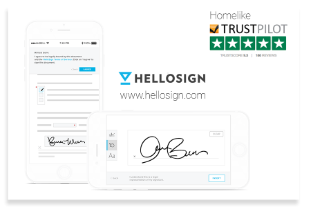 This illustration shows how easy it is to sign a lease on Homelike through the Hello Sign process