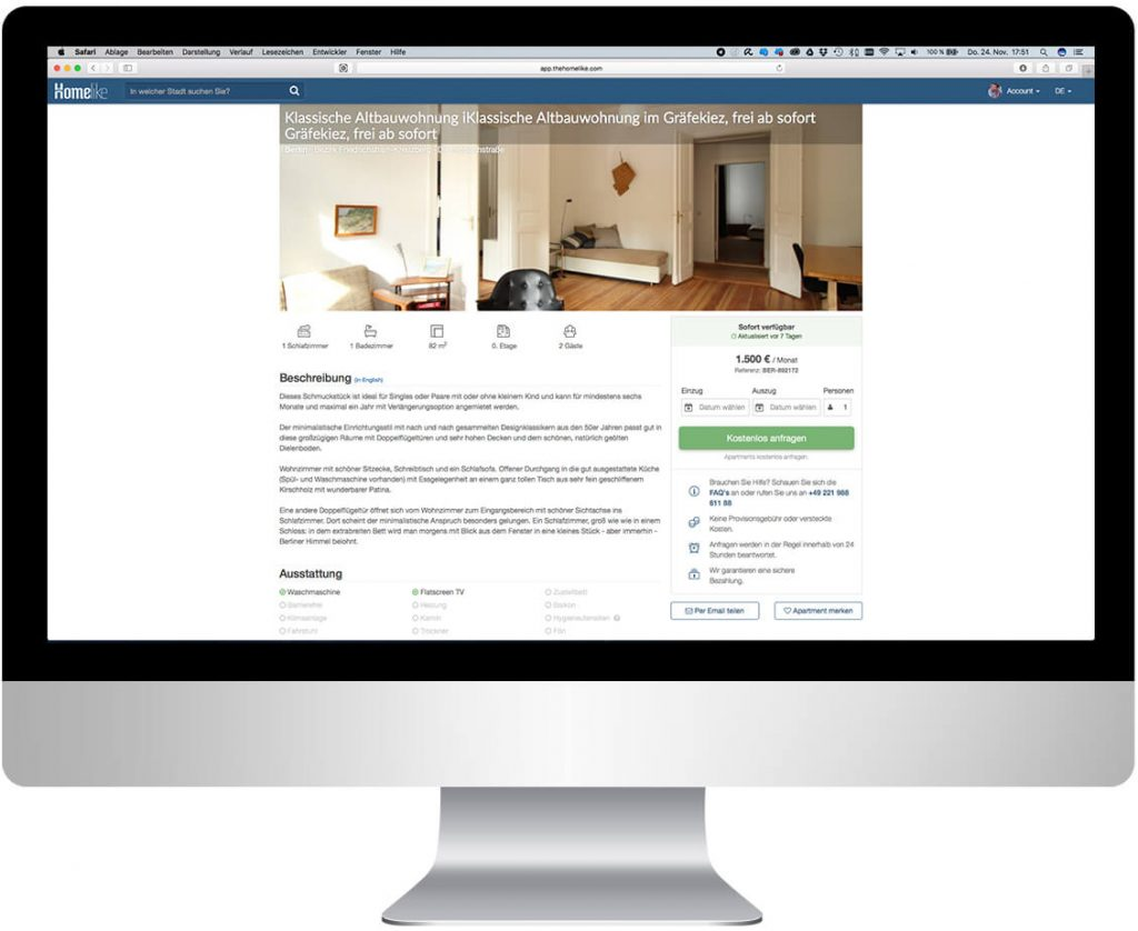 Hier würden Sie den Screenshot eines Bildschirms sehen, auf dem eine Apartmentbeschreibung geöffnet ist.
